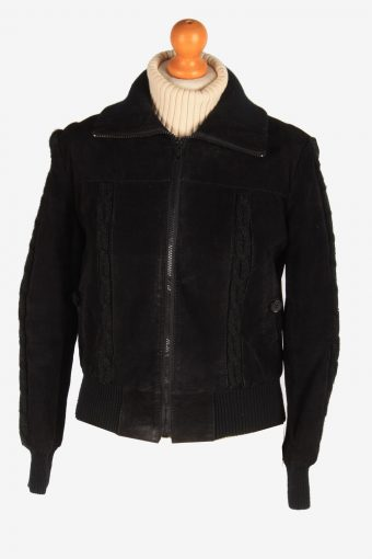 Womens Suede Leather Bomber Zip Up Vintage Size S Black C3122