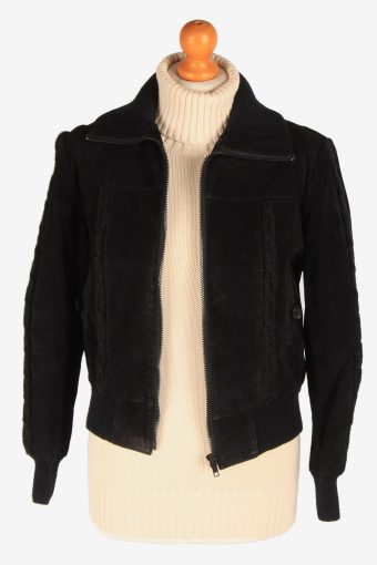 Womens Suede Leather Bomber Zip Up Vintage Size S Black C3122-165376