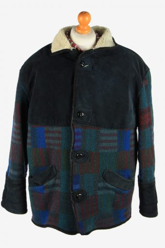Men's Aztec Print Sherpa Lined Coat Vintage Size M Multi C2707