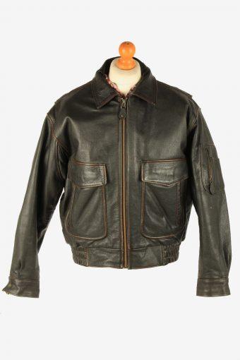 Men's Genuine Leather Pilot Flying Jacket Vintage Size L Dark Brown C2716