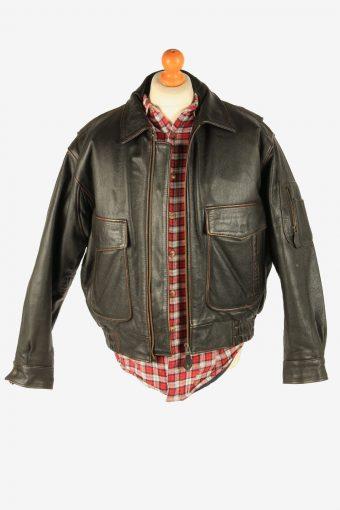 Men's Genuine Leather Pilot Flying Jacket Vintage Size L Dark Brown C2716-159591