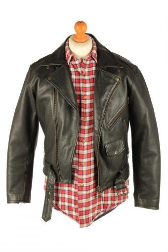 Men's Genuine Leather Motorbike Motorcycle Jacket Vintage Size S Black C2721