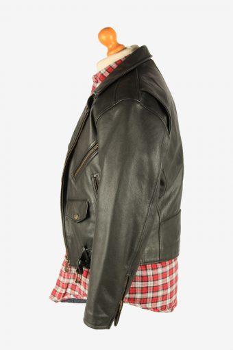 Men's Genuine Leather Motorbike Motorcycle Jacket Vintage Size S Black C2721-159621