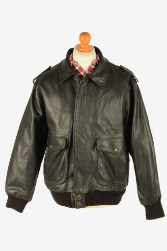Men's Leather Motorcycle Biker Jacket Vintage Size XL Black C2723