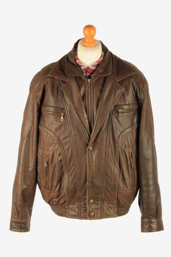 Men's Genuine Leather Motorbike Motorcycle Jacket Vintage Size M Dark Brown C2727