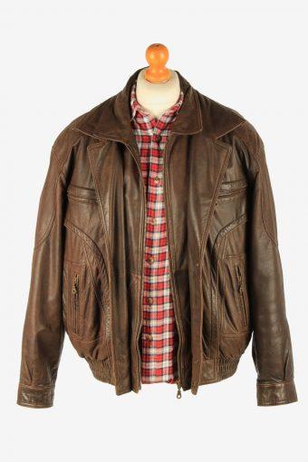 Men's Genuine Leather Motorbike Motorcycle Jacket Vintage Size M Dark Brown C2727-159657