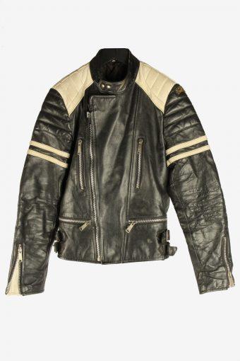 Men's Genuine Leather Motorbike Motorcycle Jacket Vintage Size XS Black C2728
