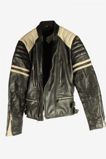 Men's Genuine Leather Motorbike Motorcycle Jacket Vintage Size XS Black C2728-159663