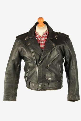 Men's Genuine Leather Motorbike Motorcycle Jacket Vintage Size S Black C2738