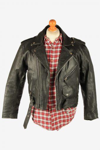 Men's Genuine Leather Motorbike Motorcycle Jacket Vintage Size S Black C2738-159723