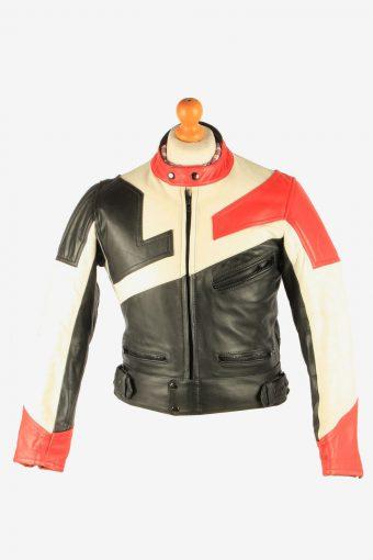 Men's Leather Motorcycle Jacket Race Biker Vintage Size S Multi C2739