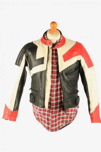 Men's Leather Motorcycle Jacket Race Biker Vintage Size S Multi C2739-159729