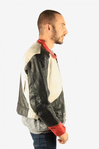 Men's Leather Motorcycle Jacket Race Biker Vintage Size XS Multi C2740-159735