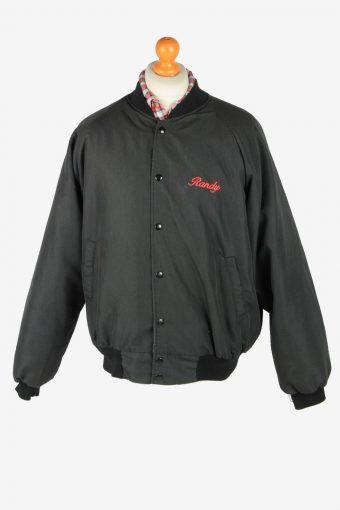 USA College  Mens Bomber jacket Vintage Size L Black C2813