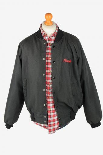 USA College Mens Bomber jacket Vintage Size L Black C2813-160185