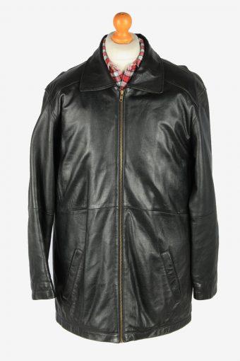 Mens Leather Overcoat Jacket Zip Up Vintage Size M Black C2815