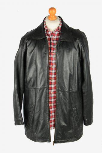 Mens Leather Overcoat Jacket Zip Up Vintage Size M Black C2815-160197