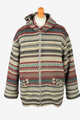 Virgin Island Mens Aztec Jacket Blanket Print Vintage Size L Multi C2844