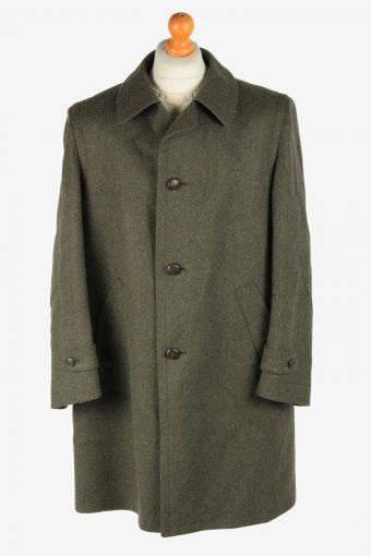 Mens Wool Coat Button Up Vintage Size XXL Dark Green C2923