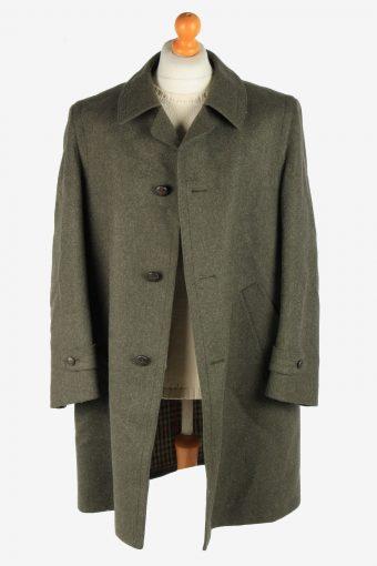 Mens Wool Coat Button Up Vintage Size XXL Dark Green C2923-161951