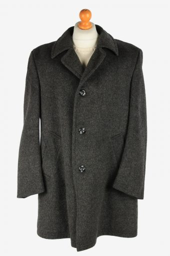 Mens Wool Coat Button Up Lined Vintage Size XXL Grey C2927