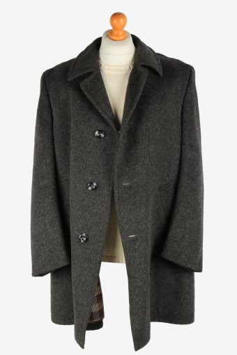 Mens Wool Coat Button Up Lined Vintage Size XXL Grey C2927-161975