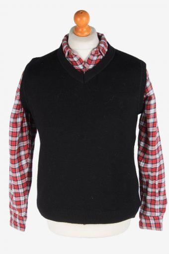 Sleeveless Jumper V Neck Cardigan Waiscoat 90s Black M