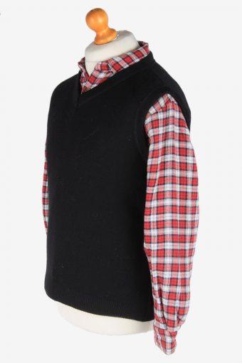 Sleeveless Jumper V Neck Cardigan Waiscoat Vintage Size M Black -IL2586-164285