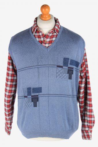 Sleeveless Jumper V Neck Cardigan Waiscoat 90s Light Blue M