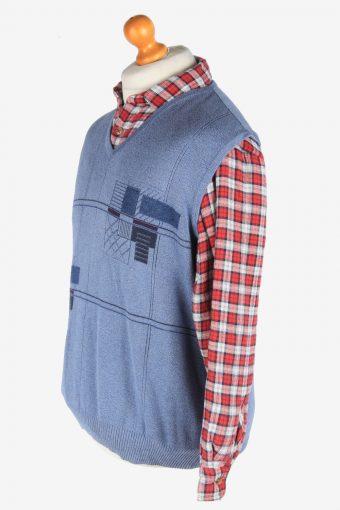 Sleeveless Jumper V Neck Cardigan Waiscoat Vintage Size M Light Blue -IL2588-164293