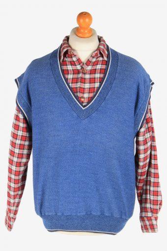 Sleeveless Jumper V Neck Cardigan Waiscoat 90s Blue XL