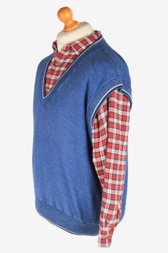 Sleeveless Jumper V Neck Cardigan Waiscoat Vintage Size L Blue -IL2589-164297
