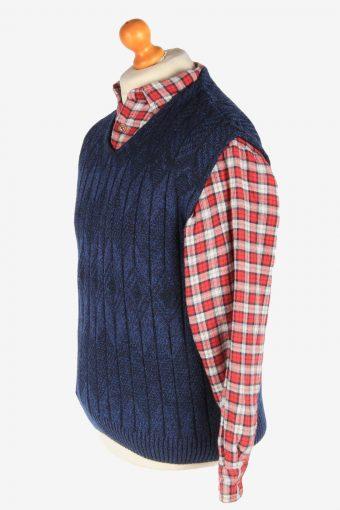Sleeveless Jumper V Neck Cardigan Waiscoat Vintage Size M Navy -IL2591-164305