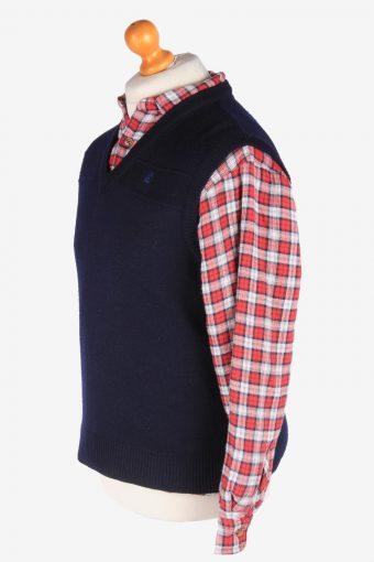 Sleeveless Jumper V Neck Cardigan Waiscoat Vintage Size S Navy -IL2592-164309