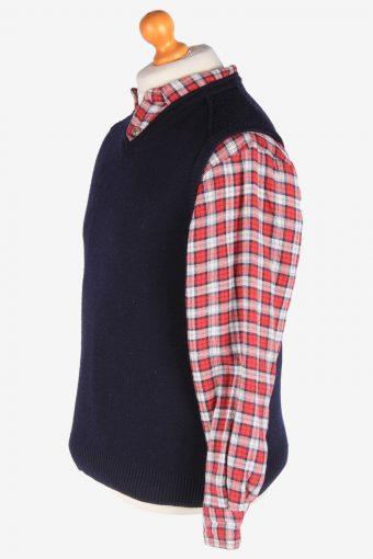 Sleeveless Jumper V Neck Cardigan Waiscoat Vintage Size S Navy -IL2593-164313