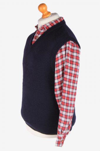 Sleeveless Jumper V Neck Cardigan Waiscoat Vintage Size S Navy -IL2594-164317