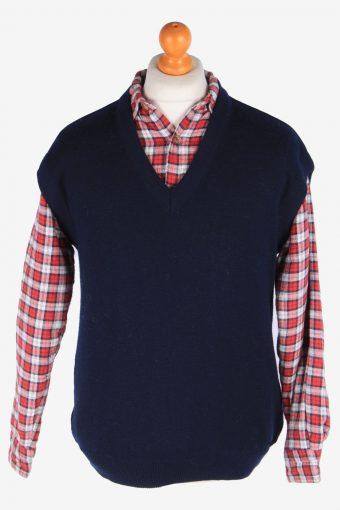 Sleeveless Jumper Sweater Vest Pullover 90s Navy L