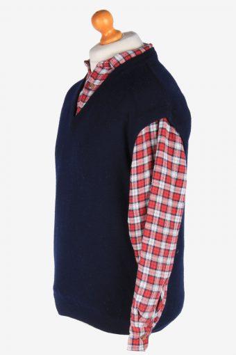 Sleeveless Jumper Sweater Vest Pullover Vintage Size L Navy -IL2596-164325