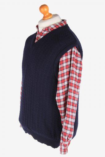 Sleeveless Jumper Sweater Vest Pullover Vintage Size M Navy -IL2597-164329
