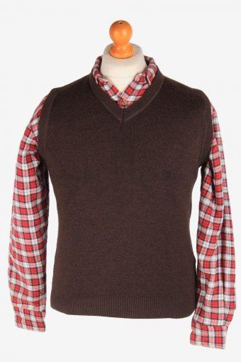 Sleeveless Jumper Sweater Vest Pullover 90s Dark Brown S