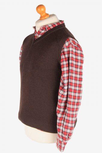 Sleeveless Jumper Sweater Vest Pullover Vintage Size S Dark Brown -IL2599-164337