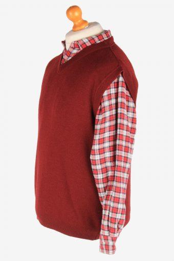 Sleeveless Jumper Sweater Vest Pullover Vintage Size L Burgundy -IL2600-164341