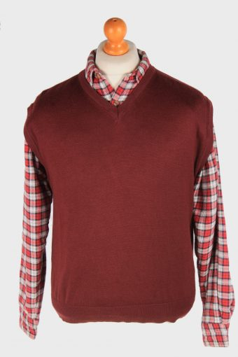Sleeveless Jumper Sweater Vest Pullover 90s Maroon M