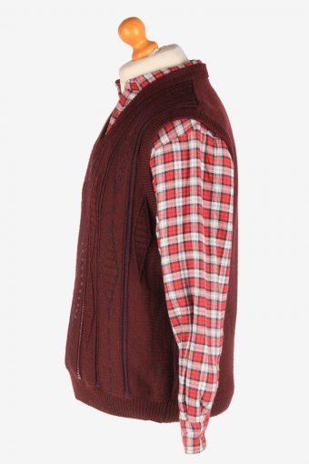 Sleeveless Jumper Sweater Vest Pullover Vintage Size L Maroon -IL2603-164353