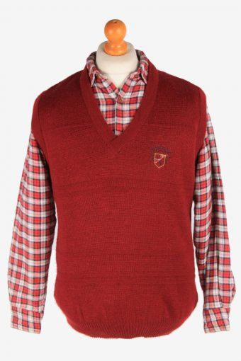 Sleeveless Jumper Sweater Vest Pullover 90s Burgundy L