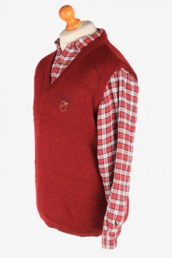 Sleeveless Jumper Sweater Vest Pullover Vintage Size L Burgundy -IL2604-164357