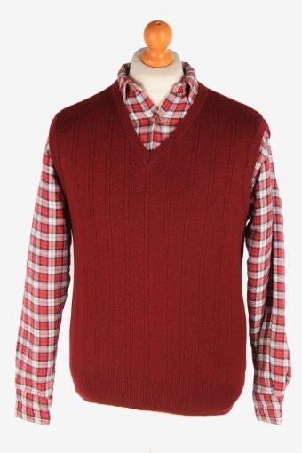 Sleeveless Jumper Sweater Vest Pullover 90s Maroon L