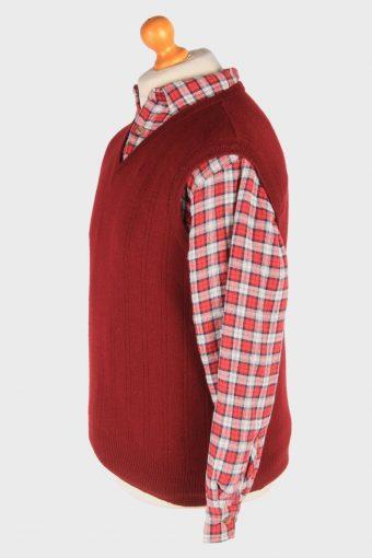 Sleeveless Jumper Sweater Vest Pullover Vintage Size L Maroon -IL2605-164361