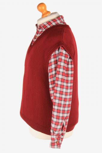 Men's Sleeveless Jumper Gilet Cardigan Vintage Size M Maroon -IL2606-164365
