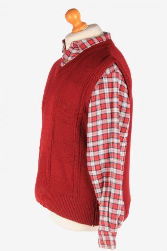 Men's Sleeveless Jumper Gilet Cardigan Vintage Size M Burgundy -IL2607-164369